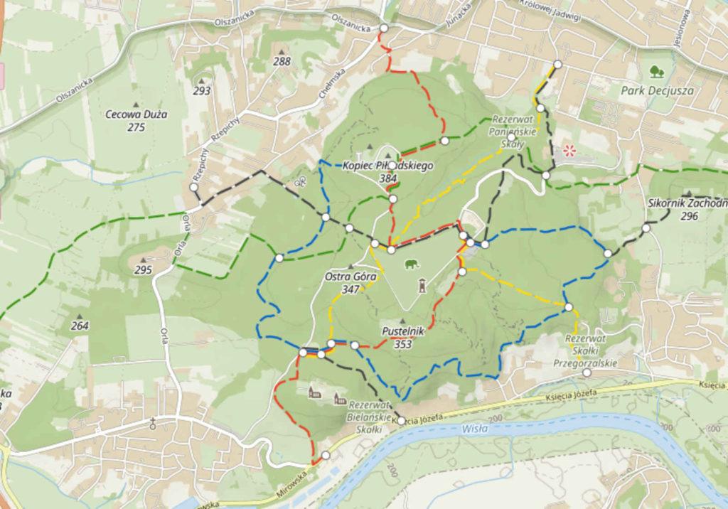 Las Wolski, mapa szlaków