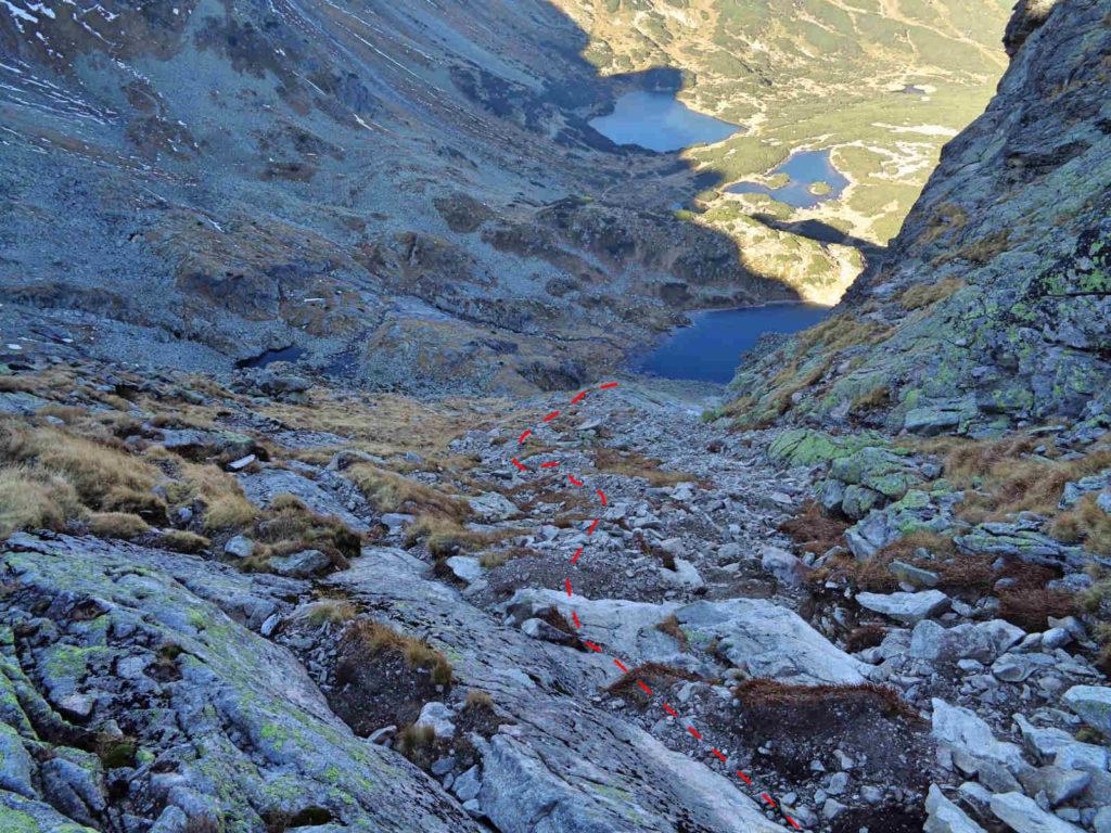 Zejście z Kościelcowej Przełęczy
