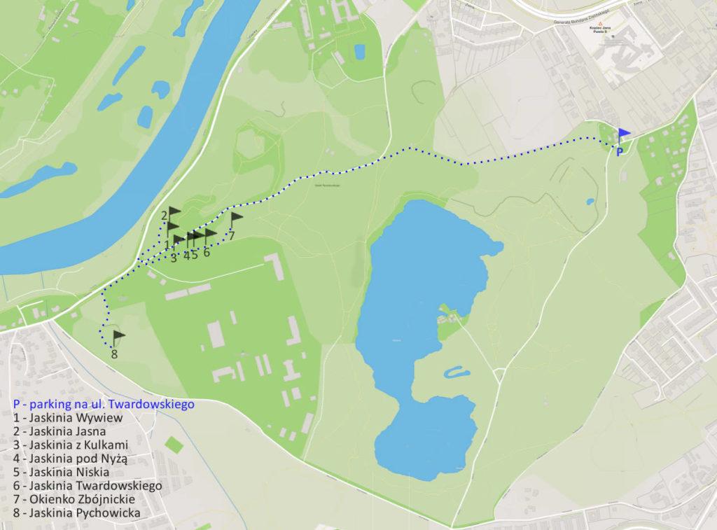 Jaskinie, Zakrzówek - mapa