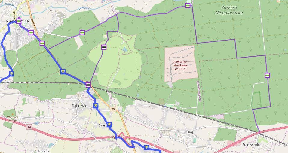 Puszcza Niepołomicka, mapa szlaków