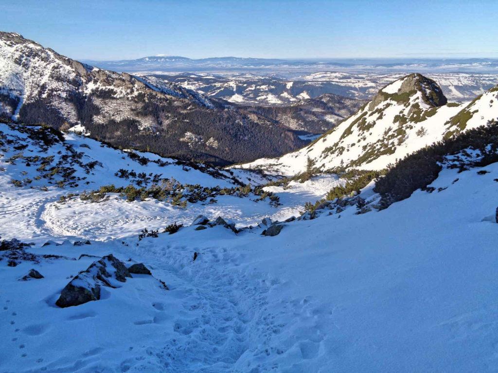 Kasprowy Wierch, zielony szlak w zimie