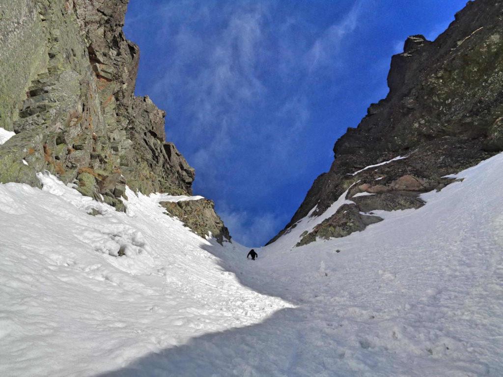 Kozia Przełęcz z Pustej Dolinki w zimie