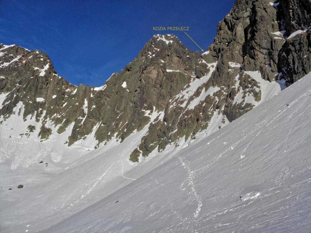 Kozia Przełęcz, zimą od Doliny Pięciu Stawów