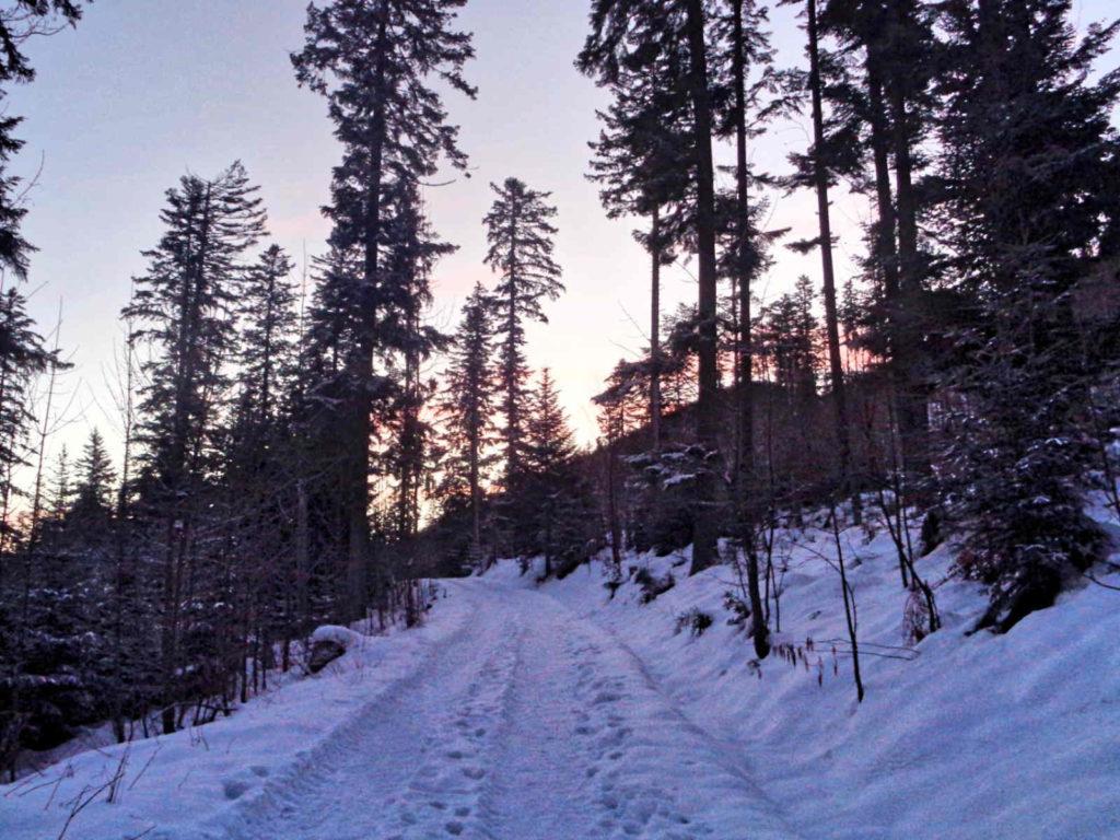 Droga pod Reglami zimą