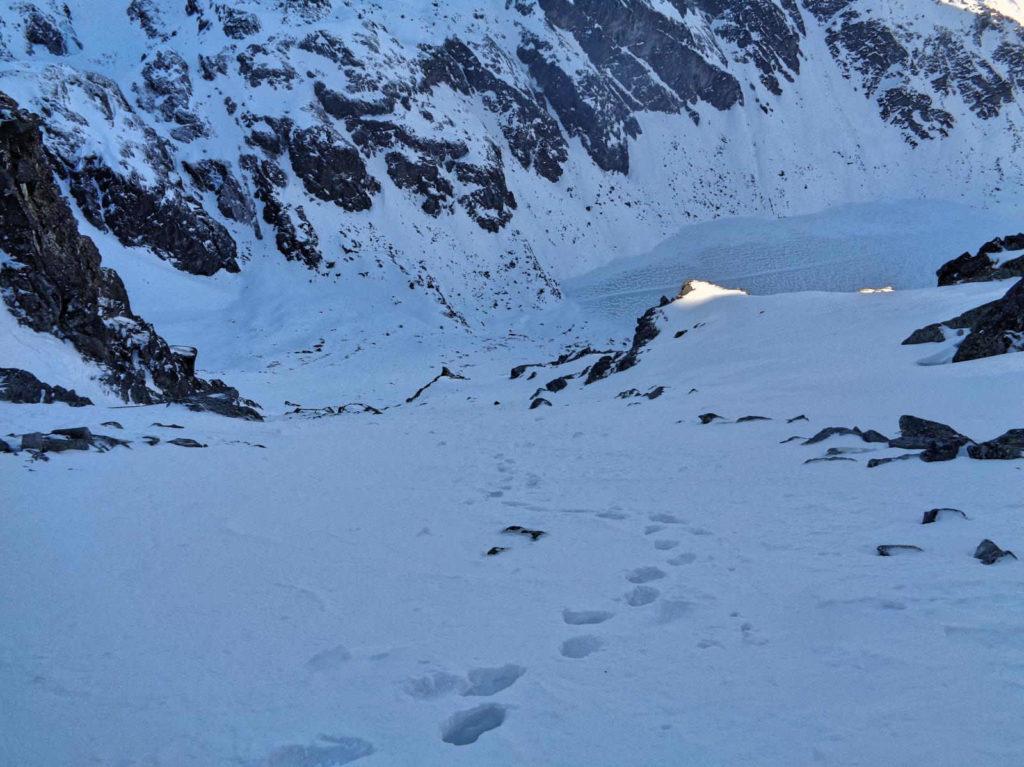 Żółta Przełęcz, zejście zimą