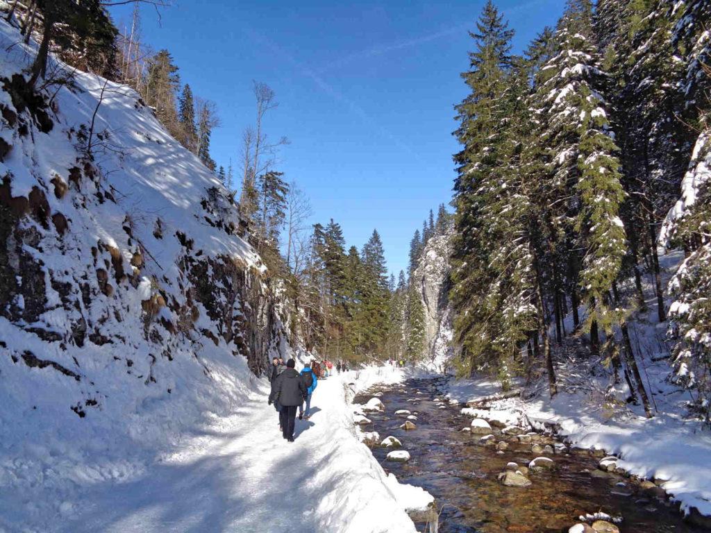 Dolina Kościeliska, szlak w zimie