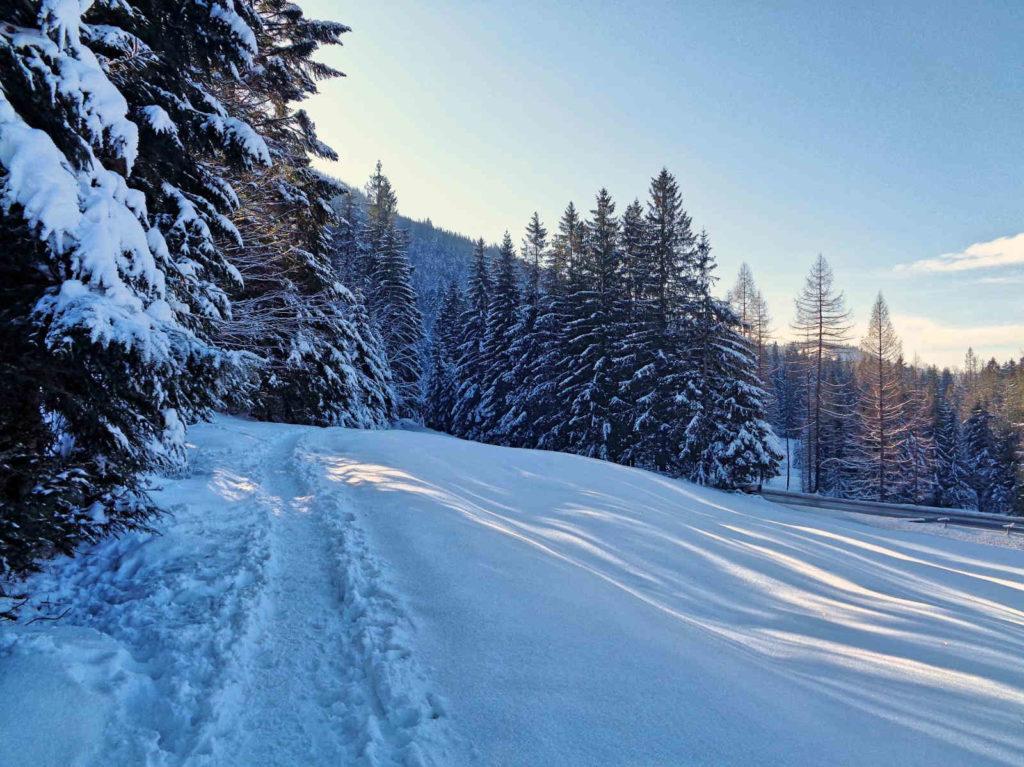 Droga pod Reglami, przejście w zimie