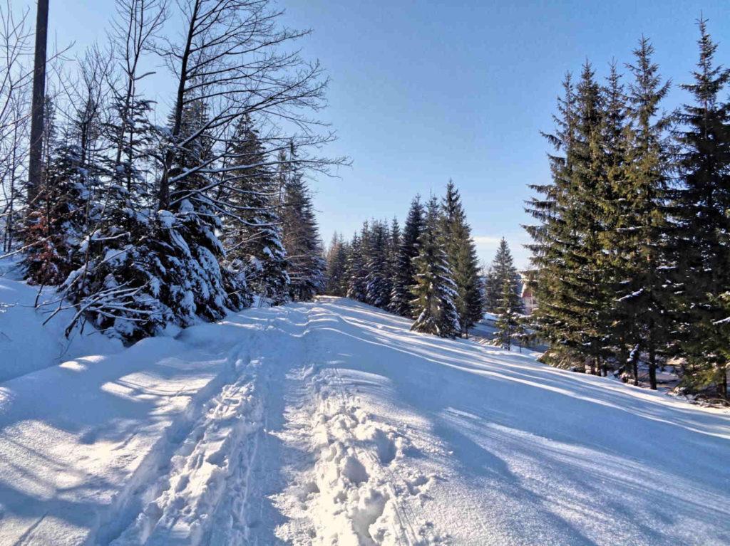 Droga pod Reglami w zimie
