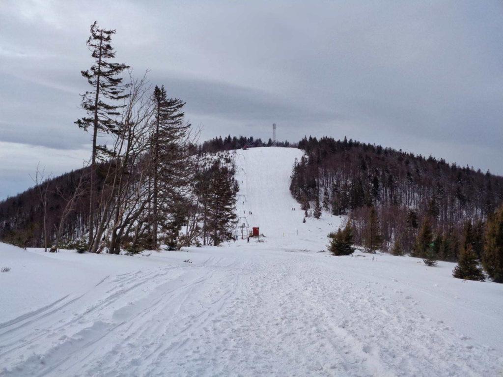 Klimczok, wejście zimą