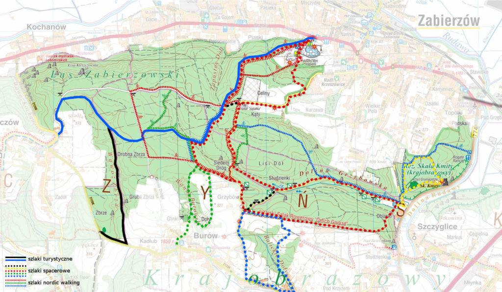 Las Zabierzowski, mapa szlaków