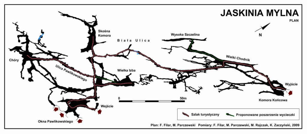 Jaskinia Mylna, mapa