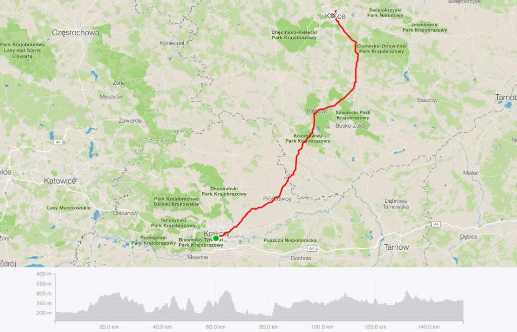 Kraków - Kielce rowerem, mapa