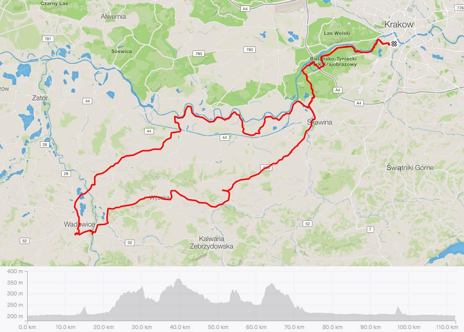 Kraków - Wadowice rowerem, mapa