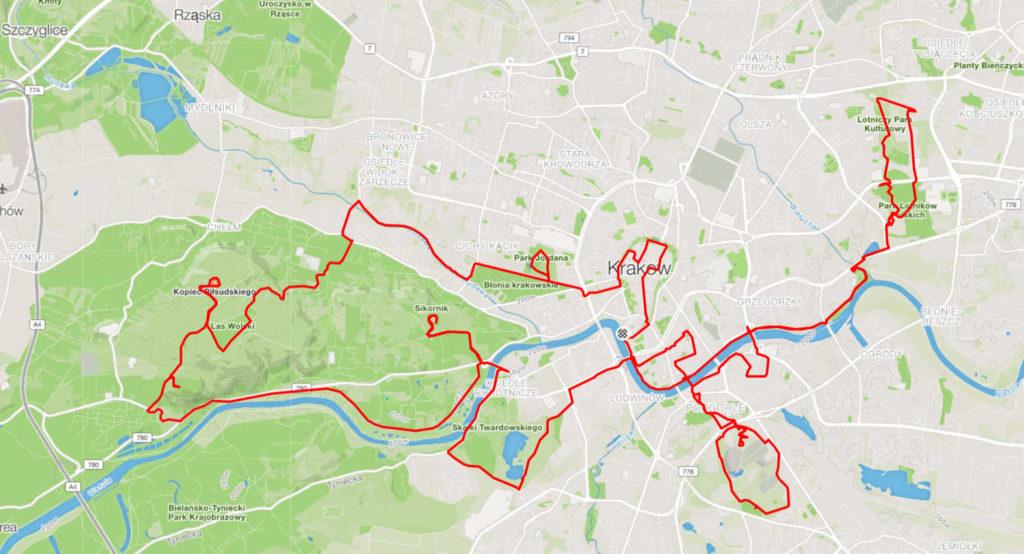 Kraków na rowerze, trasa długa