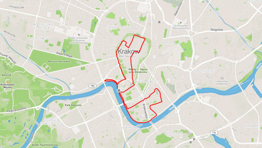 Kraków na rowerze, trasa krótka