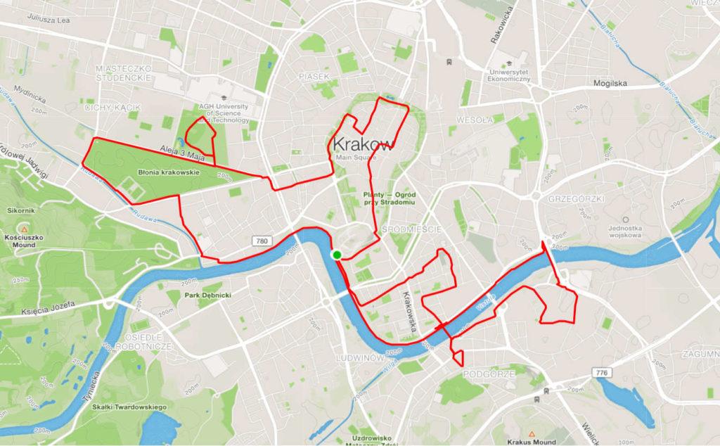 Kraków na rowerze, trasa średnia