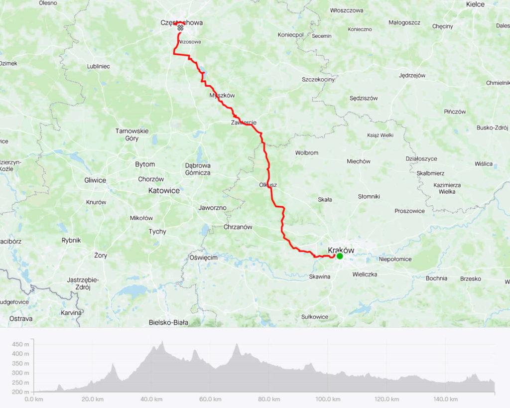 Kraków - Częstochowa rowerem, mapa