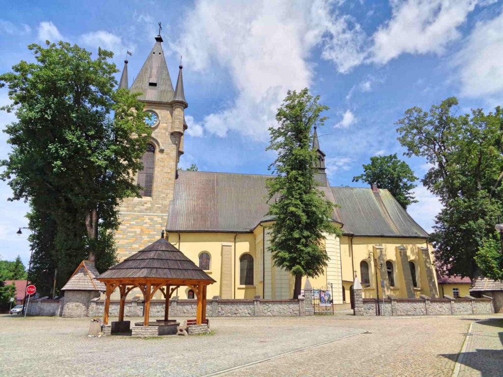 Szaflary, kościół i rynek