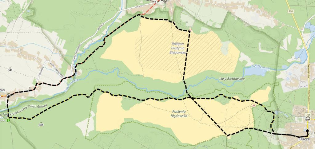 Pustynia Błędowska, mapa