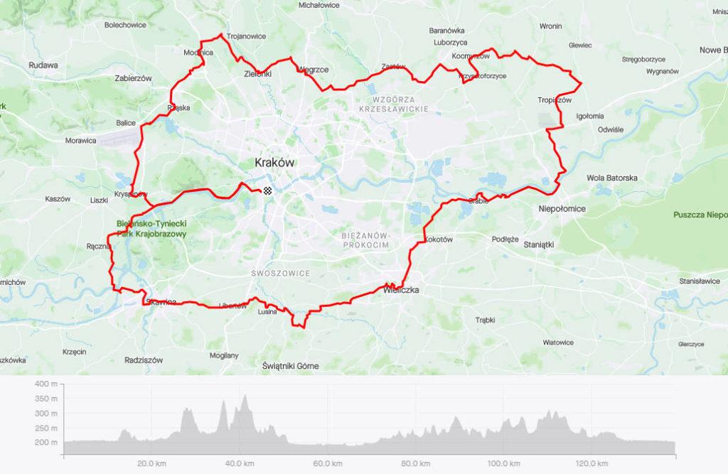 Rowerem dookoła Krakowa, mapa
