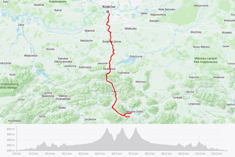 Przełęcz Glisne rowerem, mapa