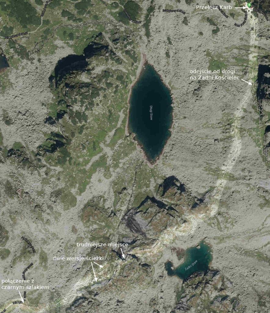 Szlak Karb - Świnicka Przełęcz, mapa
