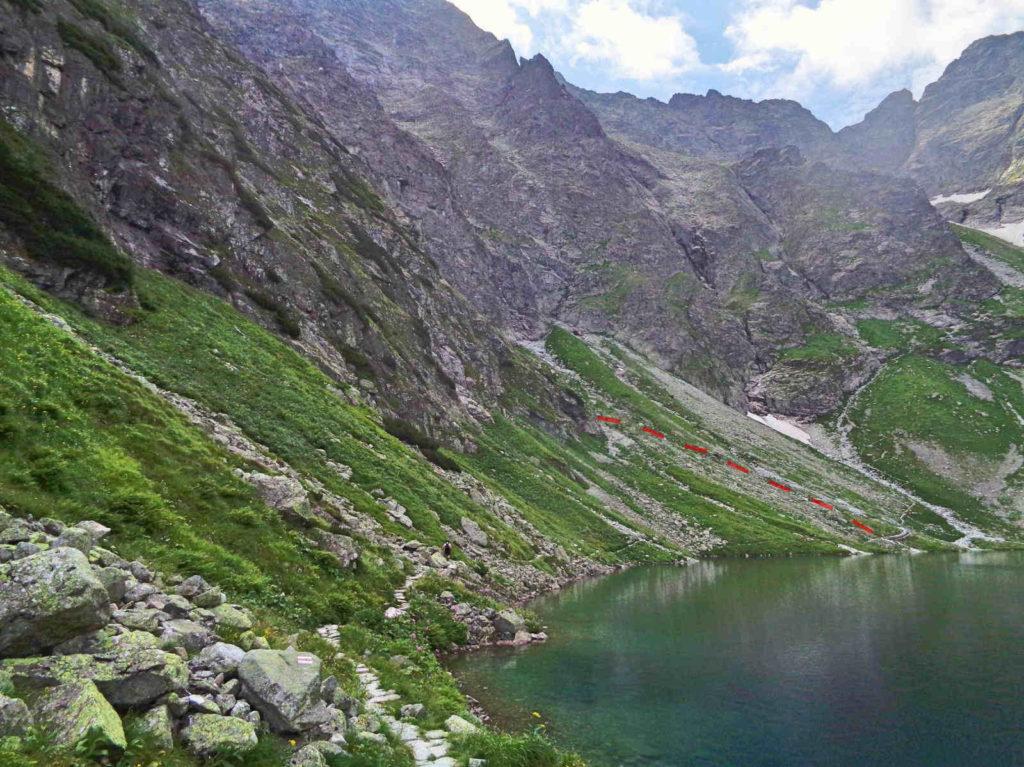 Białczańska Przełęcz Wyżnia, miejsce zejścia ze szlaku