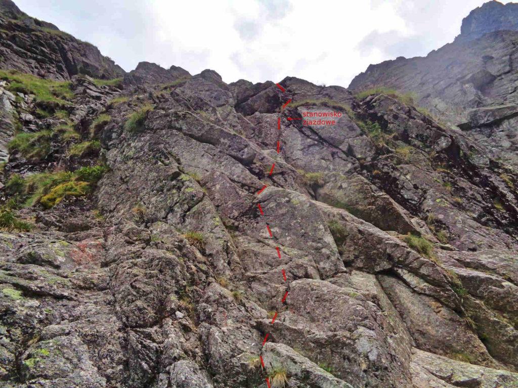 Białczańska Przełęcz Wyżnia, próg skalny