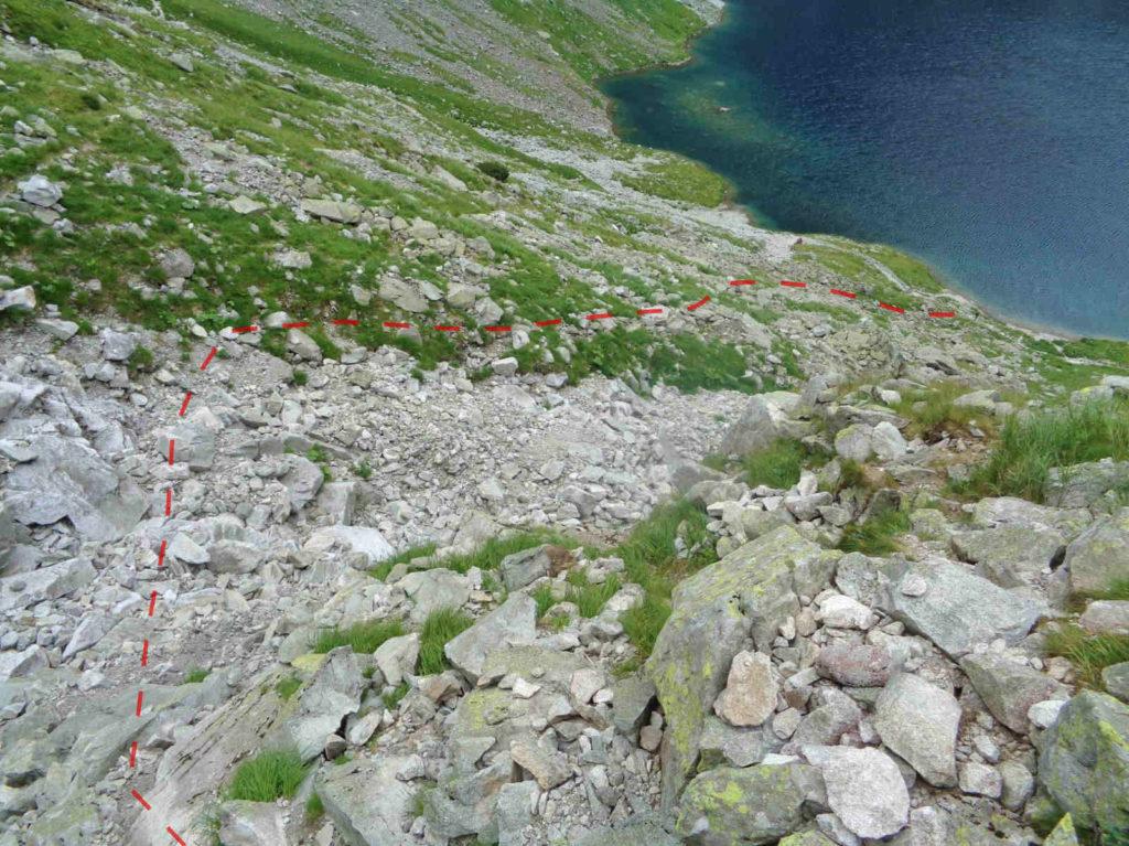 Wyżnia Przełęcz Białczańska, dojście do szlaku na Rysy