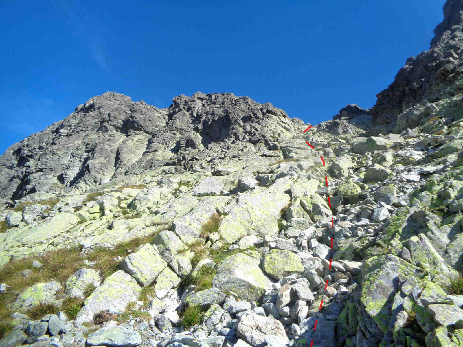Wejście na Gankową Przełęcz