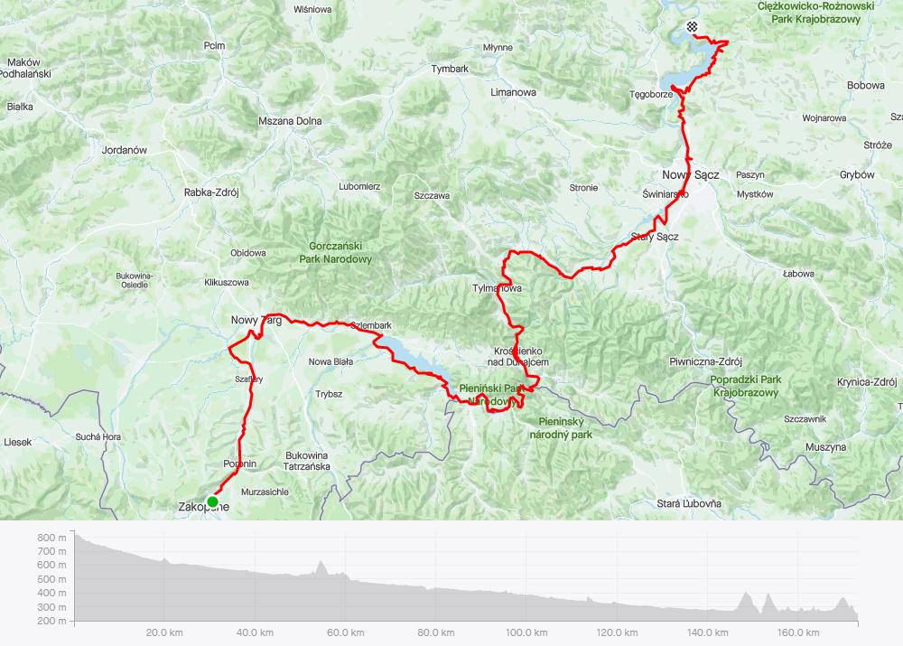 Velo Dunajec, mapa (dzień 1)