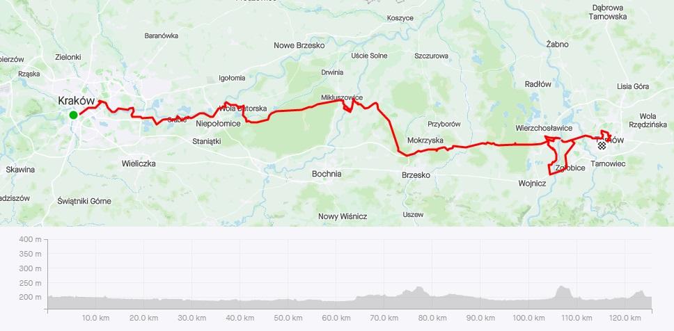 Kraków - Tarnów rowerem, mapa