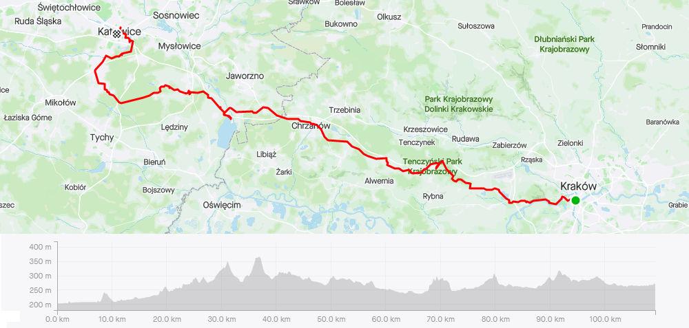 Kraków - Katowice rowerem, mapa