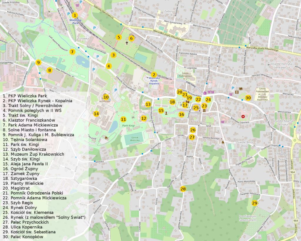Wieliczka na rowerze, mapa