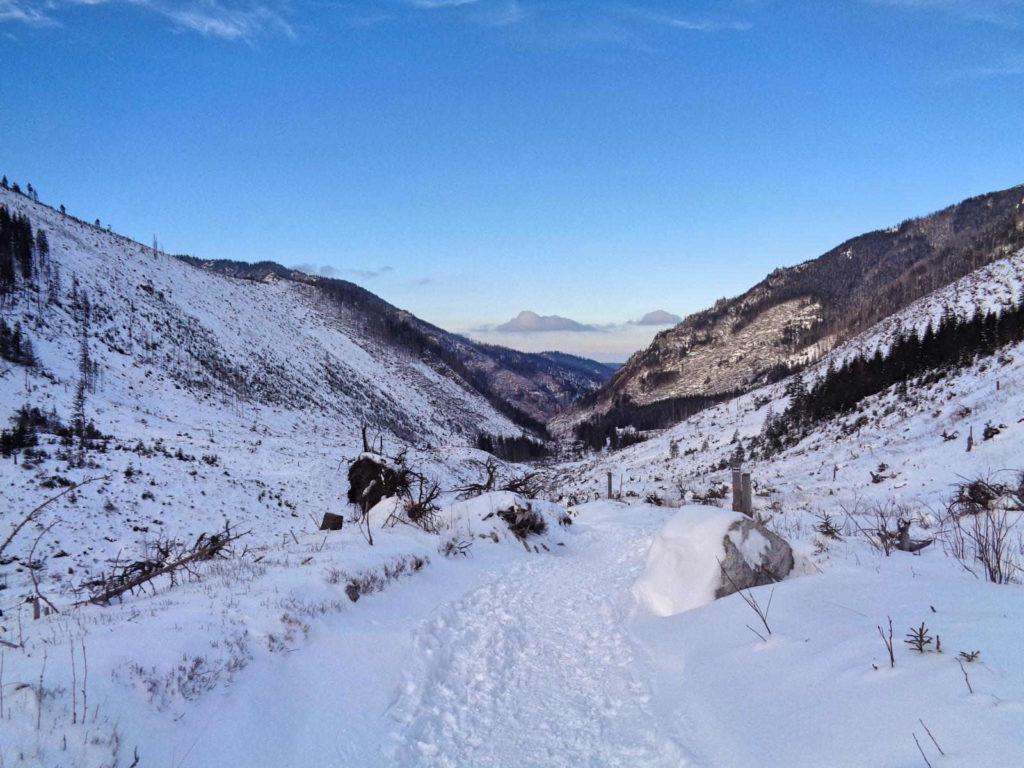 Dolina Starorobociańska, przejście w zimie