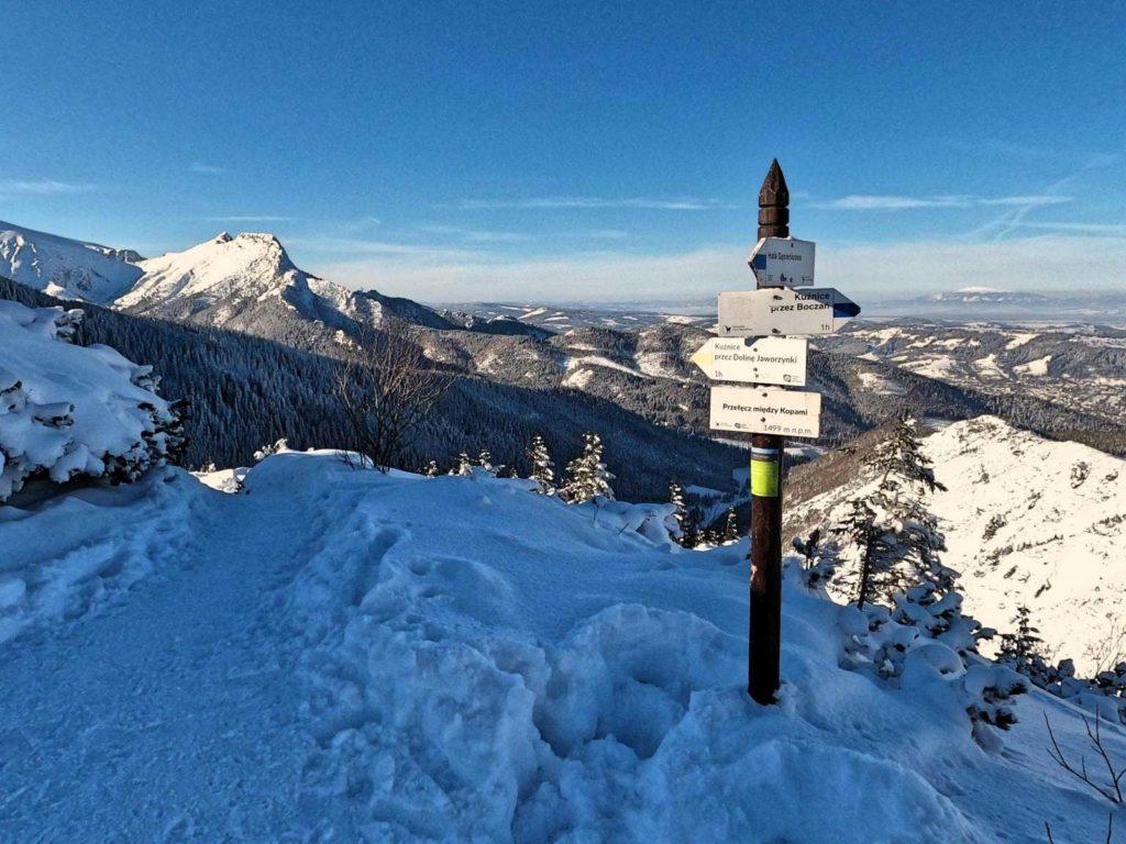 Przełęcz między Kopami w zimie