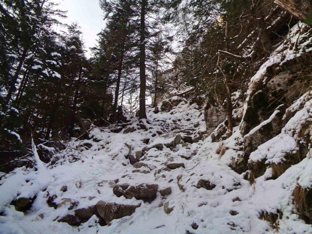 Jaskinia Mylna, dojście w zimie