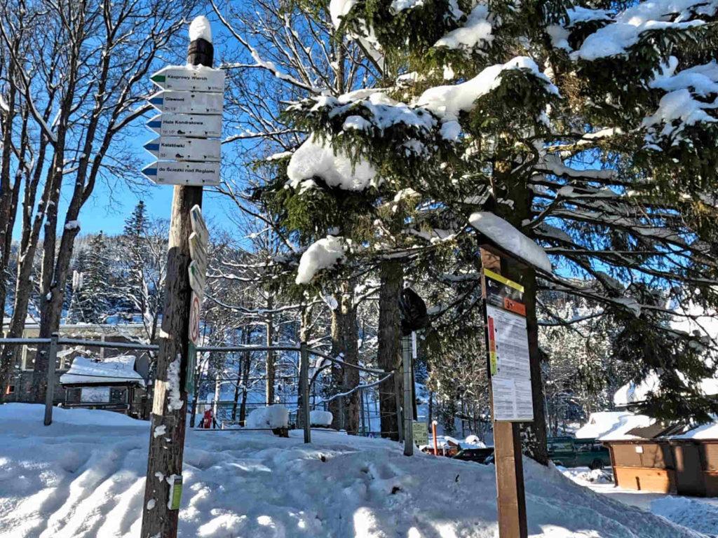 Kuźnice, szlaki w zimie