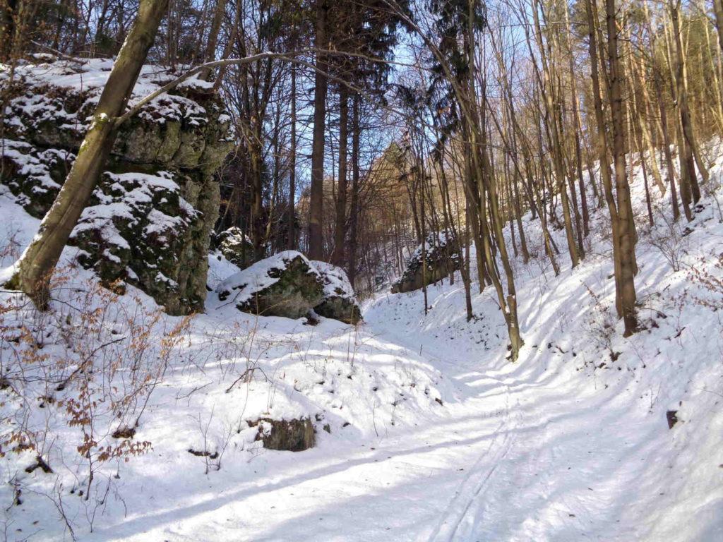 Ojcowski Park Narodowy, czerwony szlak zimą