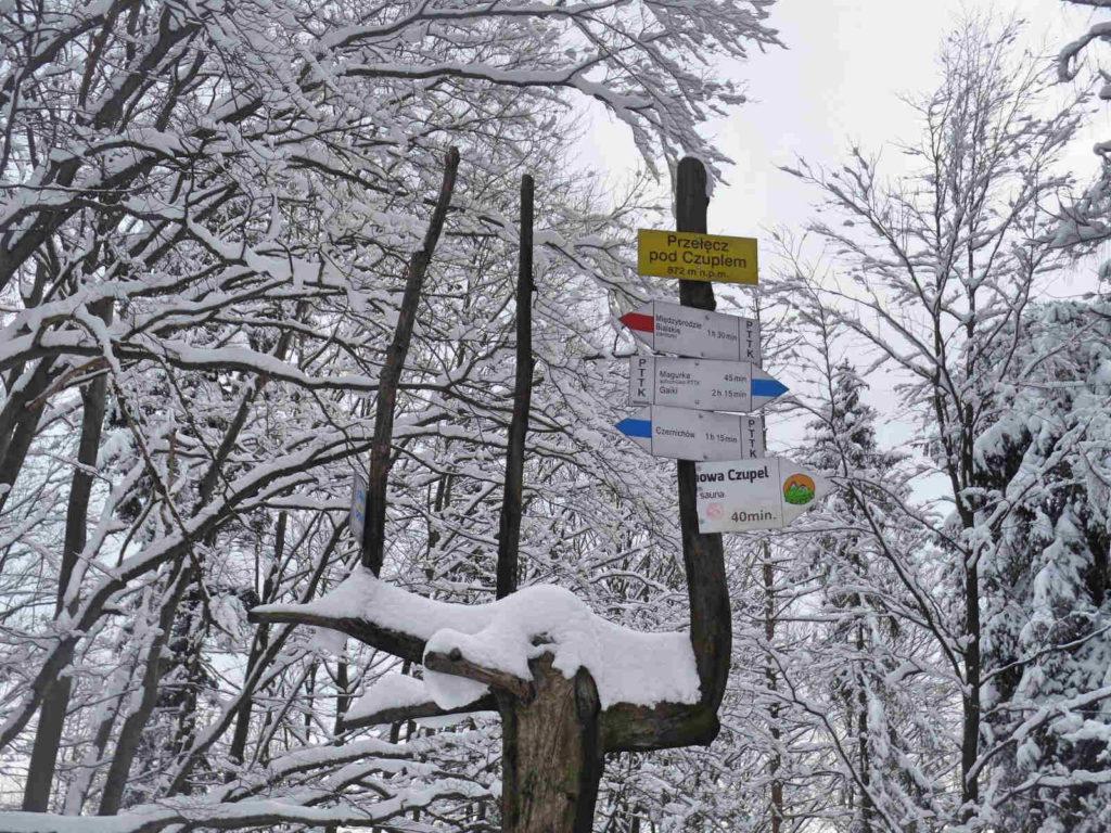 Przełęcz pod Czuplem zimą