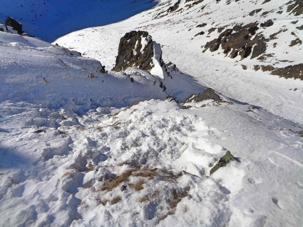 Zejście ze Skrajnego Granatu zimą
