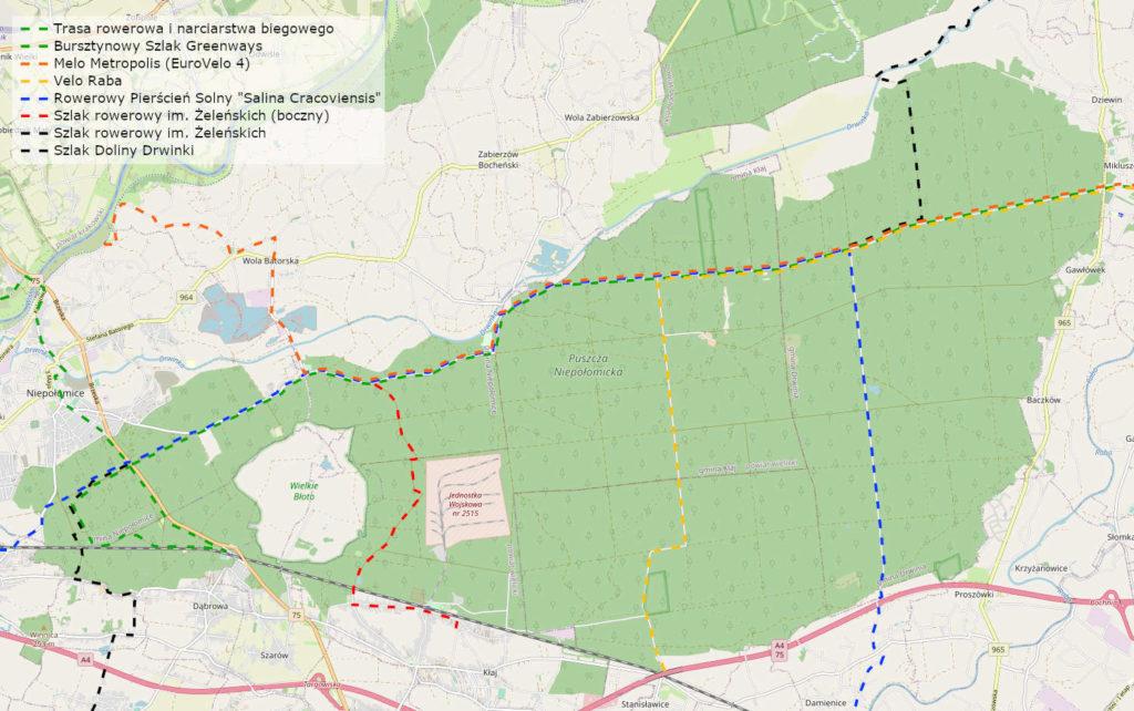 Mapa szlaków rowerowych, Puszcza Niepołomicka
