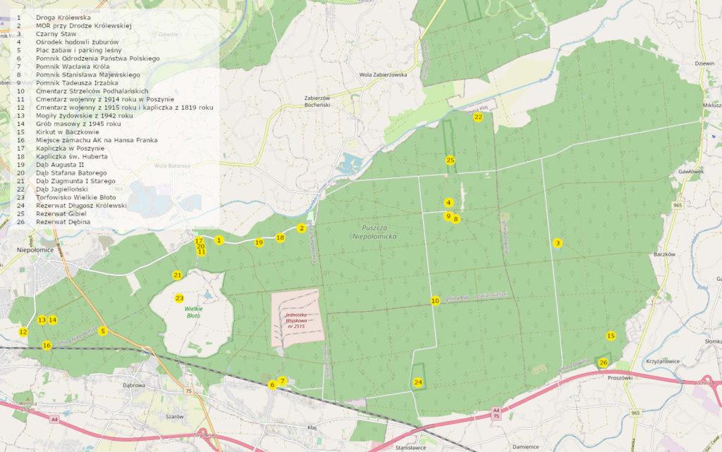 Puszcza Niepołomicka, mapa atrakcji