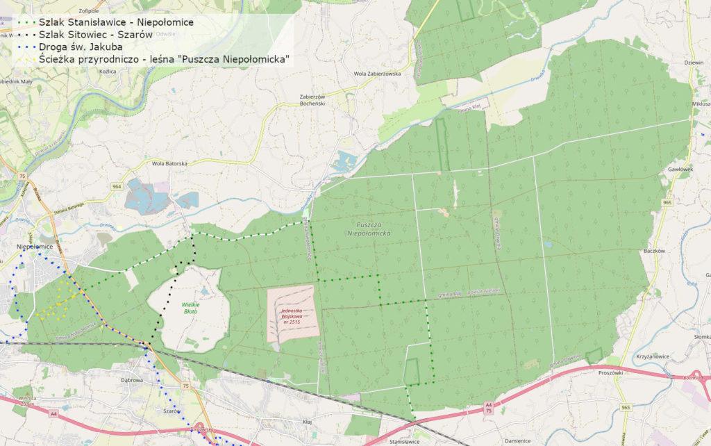 Puszcza Niepołomicka, mapa szlaków pieszych