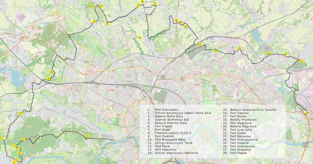 Szlak Twierdzy Kraków, mapa północnego odcinka