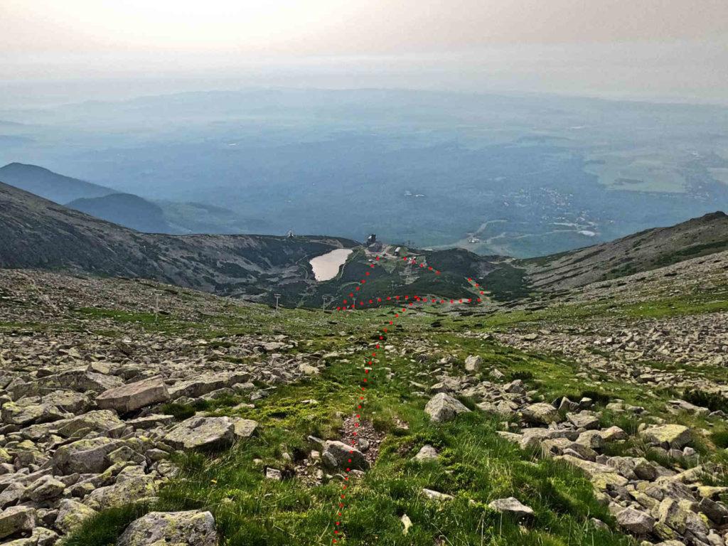Zejście z Łomnickiej Przełęczy