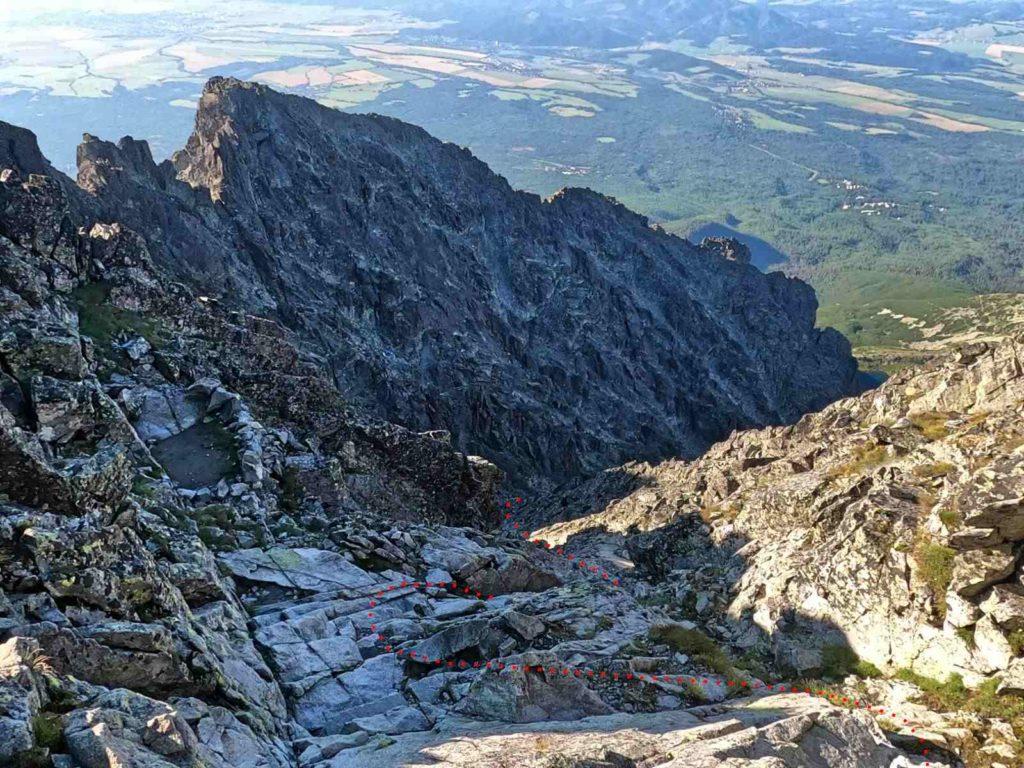 Gerlach, zejście ze szczytu