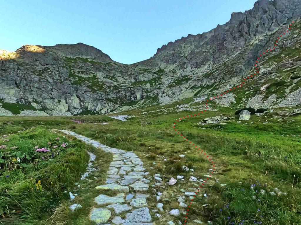 Staroleśny Szczyt, zejście ze szlaku