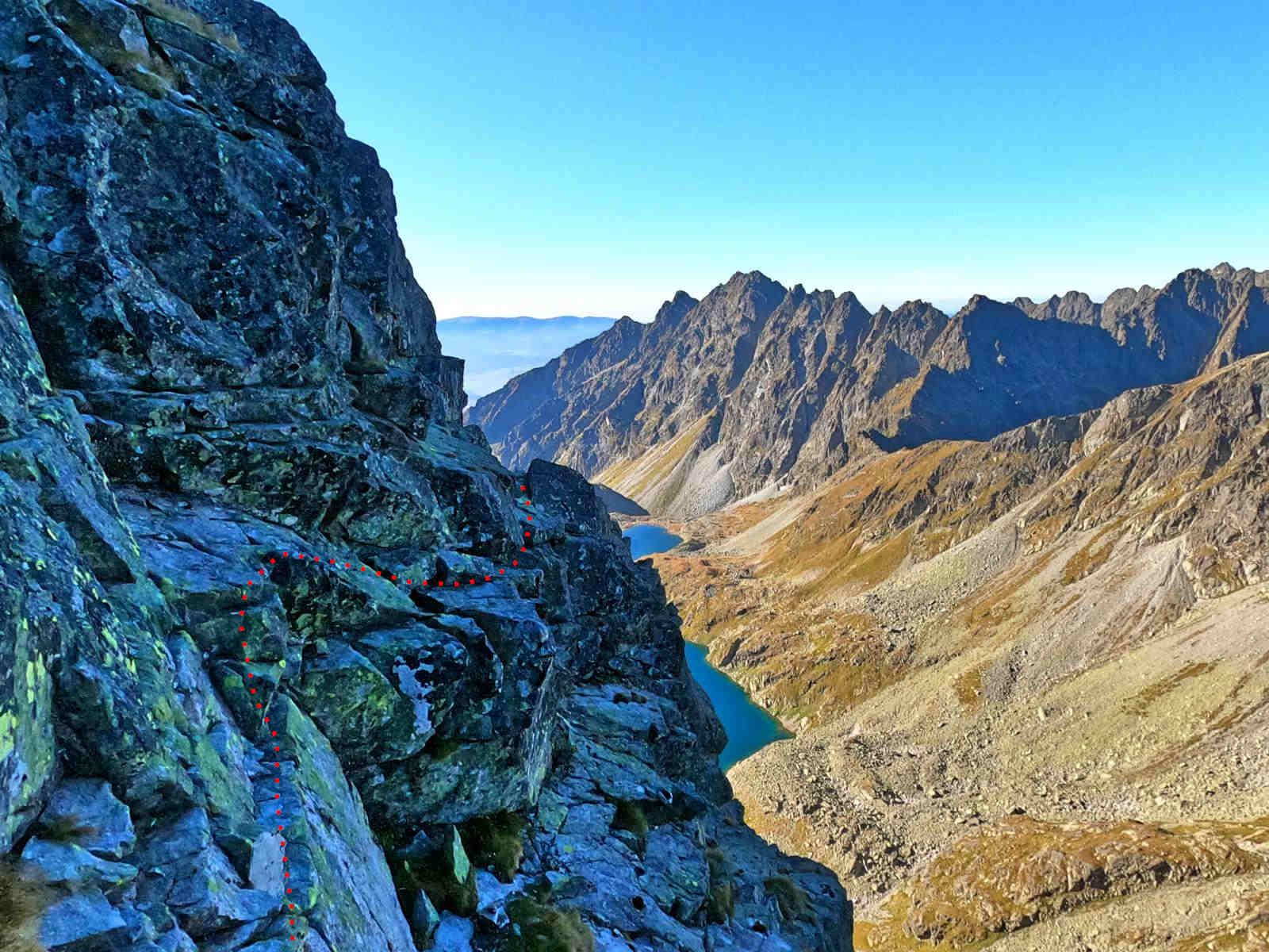 Mięguszowiecki Szczyt Wielki, droga od Hińczowej Przełęczy