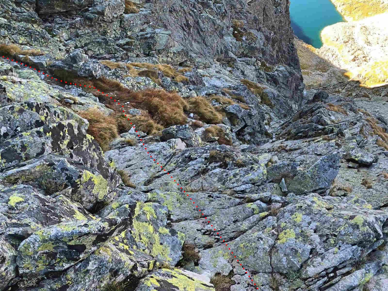 Mięguszowiecki Szczyt Wielki, droga z Hińczowej Przełęczy